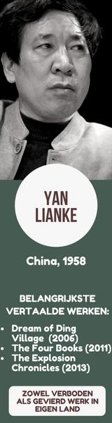 Banner met kort overzicht van de Chinese schrijver Yan Lianke